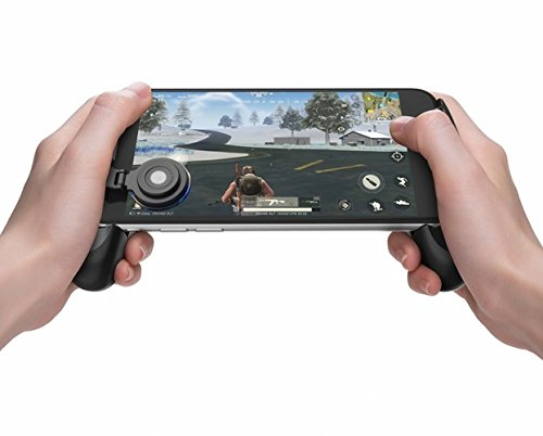 FourPlusOne PUBG Mobile Game Joystick Controller Grip Case, Ergonomical Design Game Grip Handle Controller Holder Stand Joypad for iPhone Android Smartphone (Black)