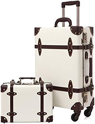 c7e9f73ad323 Travel Vintage Luggage Sets Cute Trolley Suitcases Set Lightweight Trunk  Retro Style for Women Holy White 24