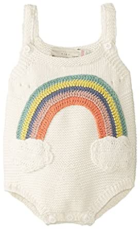 Stella McCartney Unisex-Baby Newborn Dotty Rainbow Knit Romper, Off-White, 9 Months
