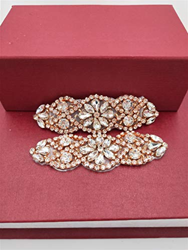 ((2pcs) Rose Gold Rhinestone Bridal Appliques, Small Size Beaded Wedding Applique Sew Iron on Crystal Applique for Women Dress Bridal Ribbon Belt Garter Headpiece Shoes Clothes Decoration)