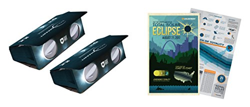 Celestron Iso Certified  2017 North American Total Solar Eclipse Eclipsmart 2X Power Viewers Solar Observing Kit  Black  44406