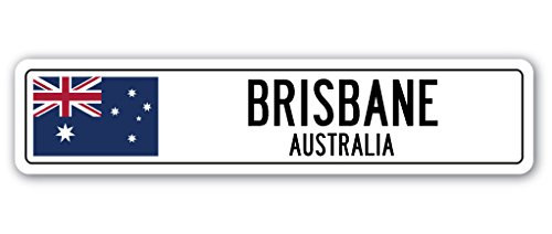 BRISBANE, AUSTRALIA Street Sign Australian flag city country road wall gift