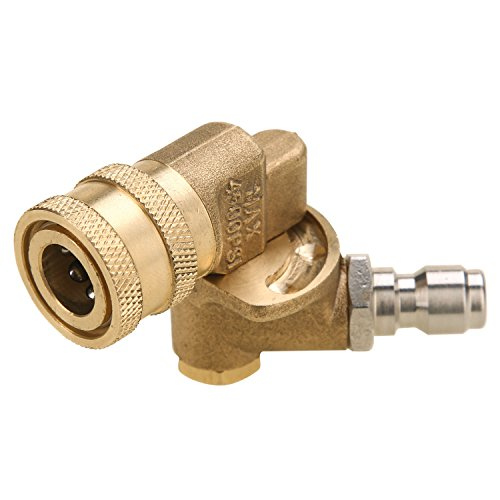 """Tool Daily Quick Connecting Pivoting Coupler for Pressure Washer Nozzle, Cleaning Hard to Reach Areas, 4500 PSI 1/4"""" Plug 90 Degree Rotation by Tool Daily (Image #1)"""
