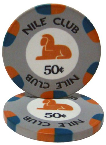 - 25 $.50 Nile Club 10 Gram Ceramic Casino Quality Poker Chips