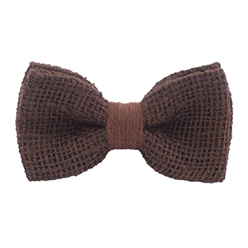Rustic Pre-Tied Bow Tie in 100% Burlap Hessian, by Bow Tie House (Small, Brown)