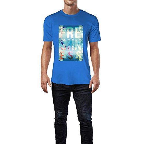 SINUS ART® Exotischer Sommer Print Freshness Herren T-Shirts in Blau Fun Shirt mit tollen Aufdruck