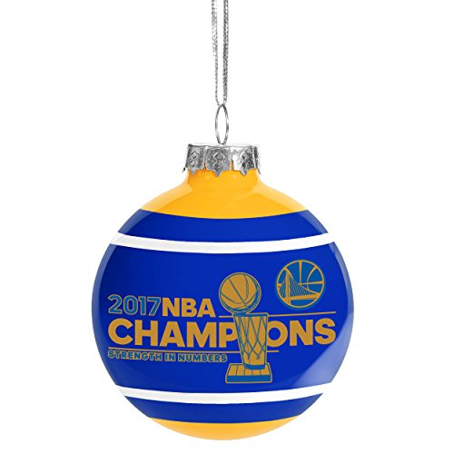 FOCO Golden State Warriors 2017 NBA Champions Glass Ball Christmas Ornament