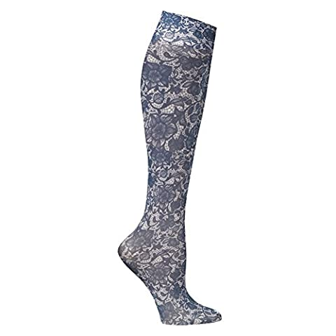 Women's Printed Mild Compression Knee High Stockings - Navy Lace - Navy Stein