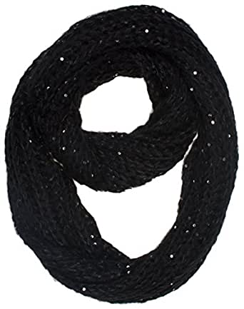 DRY77 Solid Color Knitted Infinity Loop Scarf, Black