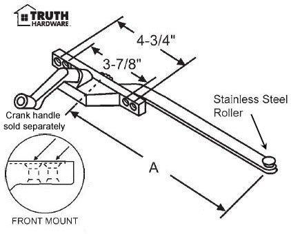 Casement Window Operator, Left Hand, Front Mount, Stainless Steel Roller, Bronze, 13-1/2'' Long Arm