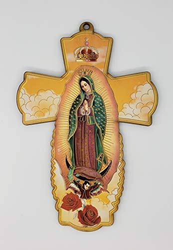 BESTPARTYFAVORS 12 Pcs Our Lady of Guadalupe Wood Wall Cross Baptism First Communion Christening Party Favor