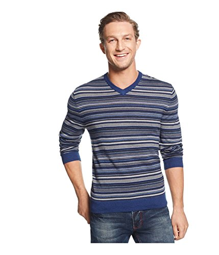 Club Room Mens Merino Wool Striped Pullover Sweater Blue (Striped Wool Pullover)