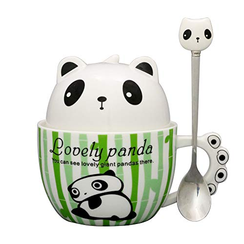 (Teagas Cute Funny Panda Mug with Spoon Ceramic Coffee Mugs Cup for Women Animal Lovers Gift Mug)