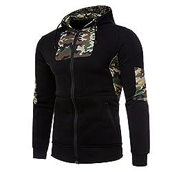 Men Camouflage Coat,todaies Mens' Autumn Camouflage Hoodie Hooded Sweatshirt Coat Winter Jacket Outwear (S, Black)