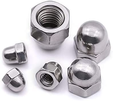 Bright Finish 304 Stainless Steel 18-8 QWORK Acorn Hex Cap Dome Head Nuts Pack of 10 1//2-13 Threads