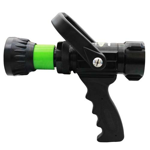 Alumium 1 1/2'' Lime Green NH Nozzle 60 Gallons Per Minute (GPM) with Durable Rubber Bumper by FireHoseDirect (Image #1)