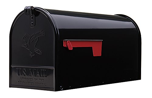 Gibraltar Mailboxes Elite Large Capacity Galvanized Steel Black, Post-Mount Mailbox, E1600B00 (Mount Post Center)