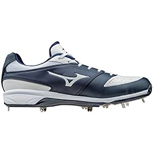 Mizuno Dominant IC Adult Men's Low Cut Metal Baseball Cleats - Navy & White (Men's Size 8)