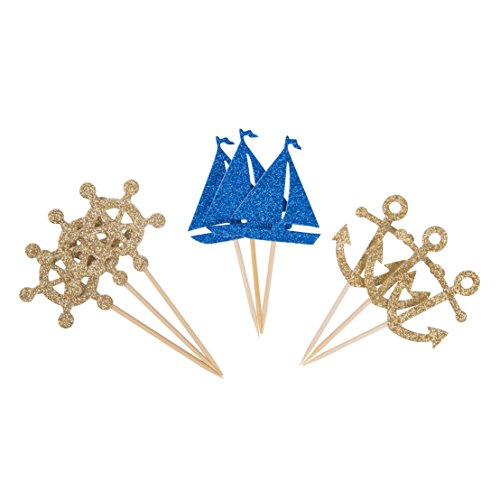 24 Pcs Nautical Theme Glitter Cupcake Picks Cupcake Toppers Food Fruit Picks for Decoration Party Favors, Nautical, -
