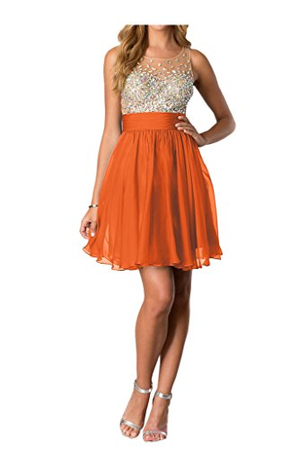 Tuell Abendkleid Orange Partykleid Rundkragen kurz Strass Missdressy Chiffon Damen qAwYWp