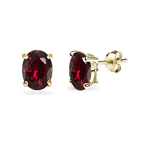 (Yellow Gold Flashed Sterling Silver Created Ruby 8x6mm Oval-Cut Solitaire Stud)