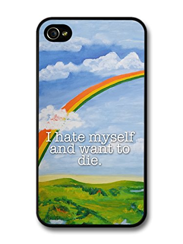 Funny Cute Goth Grunge I hate Myself and Want to Die Quote with Rainbow case for iPhone 4 4S