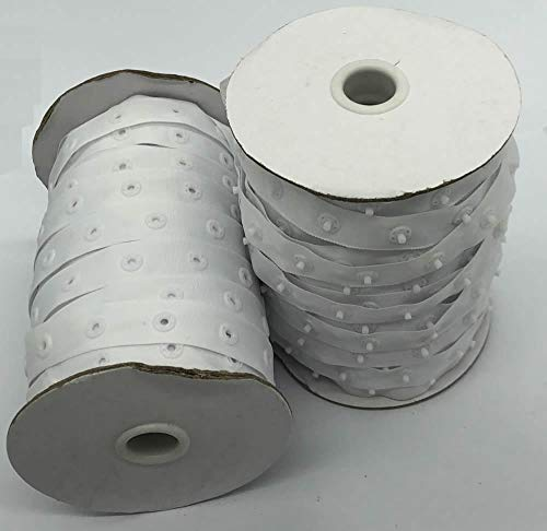White Sewing Snap Tape 5/16 Round Buttons Wide 3/4 Zipper