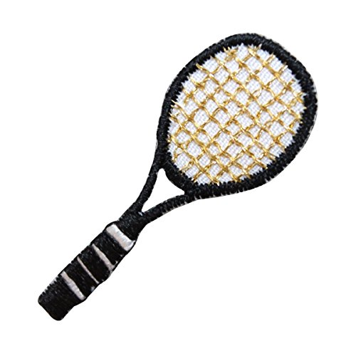 ID-1557-Tennis-Racket-Patch-Black-Racquet-Sports-Embroidered-Iron-On-Applique