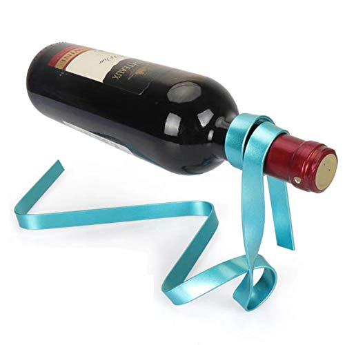 Hot Sale!DEESEE(TM)Magic Floating Colored Ribbon Wine Bottle Holder Rack Stand Bracket Art (Blue) ()