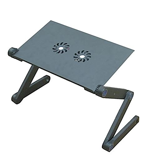 - Aluminium Alloy Folding Laptop Desk/Stand/Table - Adjustable Height & Positions - Vented With CPU Fans - Mounted Mouse Pad - Black. By Mega Stationers