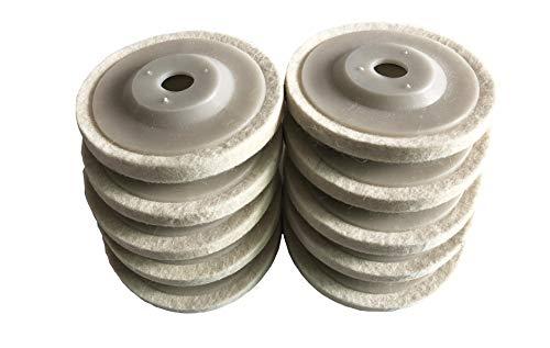 GooM 10pcs 4'' 100mm Wool Polishing Buffing Wheel Pad Bore, Round Polishing Wheel Felt Buffer Disc - Polisher Grinder Angle