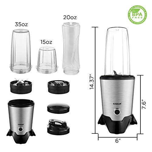 CHULUX 1000 Watt High Speed Bullet Blender for Shakes and Smoothies Countertop Kitchen Blender for Frozen Fruit & Veggies Capacity with 35OZ & 15OZ Two Blending Cups and One 20OZ Travel Bottle