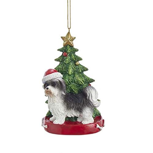 Black and White Havanese Dog Wearing Santa Hat with Christmas Tree Ornament New