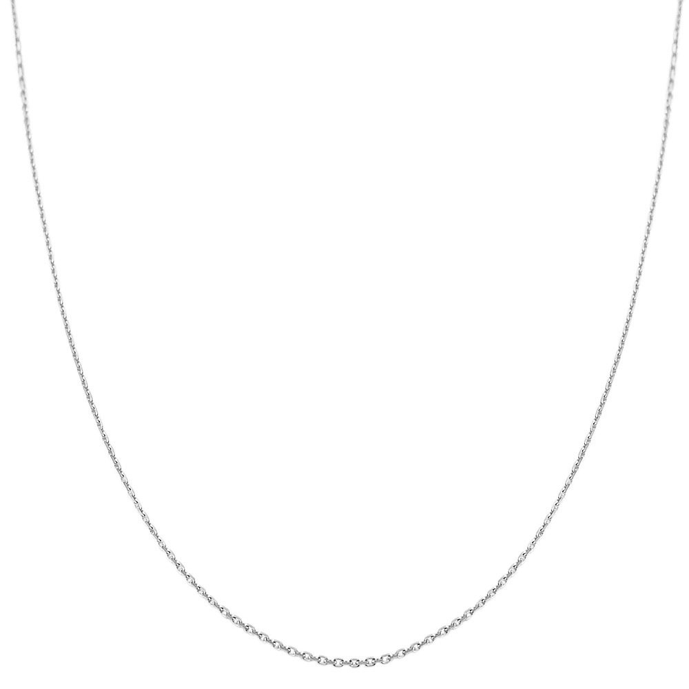 14k White Gold 0.6mm Diamond-cut Cable Chain (20 inch)
