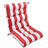 Outdoor Cabana Stripe High Back Chair Cushion, Soft Plush, Pillow Ties  Anchor Securely, Durable Easy Care, Tough Polyester, Red, White, Horizontal  Stripes, ...