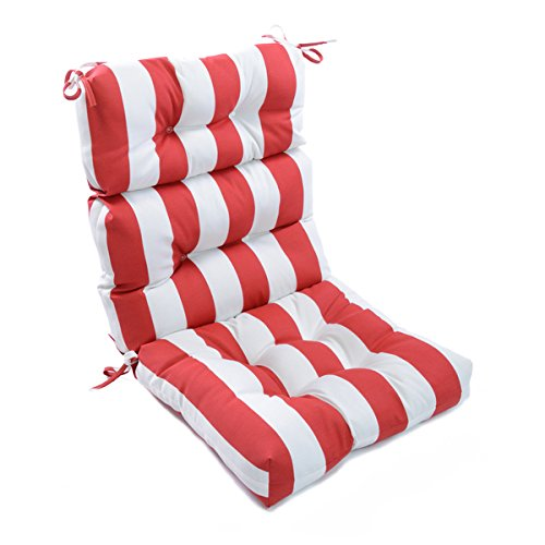 Outdoor Cabana Stripe High-Back Chair Cushion, Soft Plush, Pillow Ties Anchor Securely, Durable Easy Care, Tough Polyester, Red, White, Horizontal Stripes, Water Resistant, Poolside Patio Chair