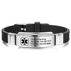 MOWOM Medical Bracelet Custom Engraved S...