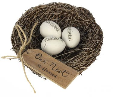 Bird Nest with Resin Eggs - Set of 2