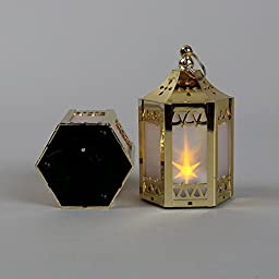6 Gold Mini Holographic Star Lanterns, 5\