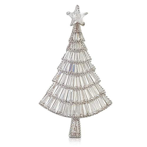 Rhodium Modern Crystal Christmas Tree Brooch PIN Made with Swarovski Elements