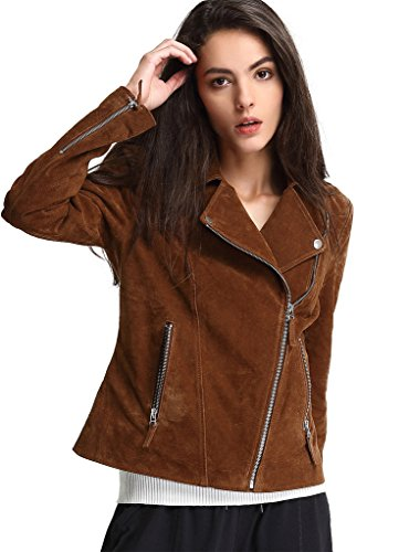 Escalier Women`s Genuine Leather Jacket Moto Biker Coat (Genuine Leather Jacket Coat)