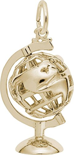 Rembrandt 3D Globe w/Stand Charm - Metal - 14K Yellow Gold