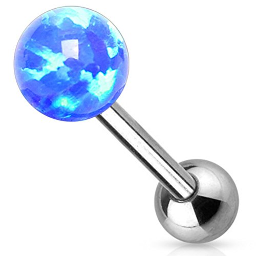 (5mm Synthetic Opal Ball Top Tongue Ring Steel Barbell Internally Threaded Piercing - 14 Gauge 5/8