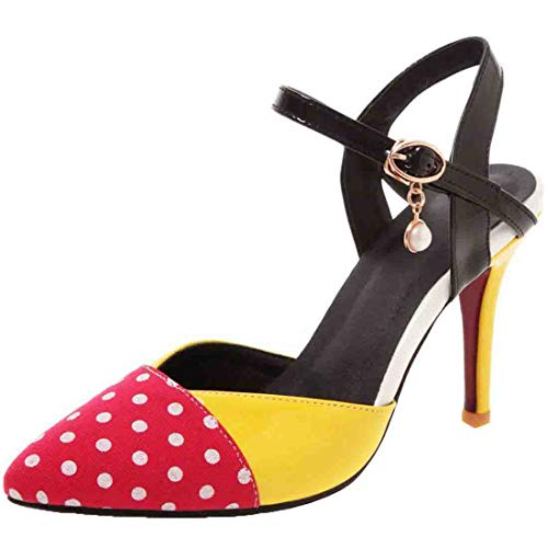(Vitalo Womens Polka Dot Pointed Slingback High Heel Pumps Ankle Strap Court Shoes Size 5.5 B(M) US,Red)
