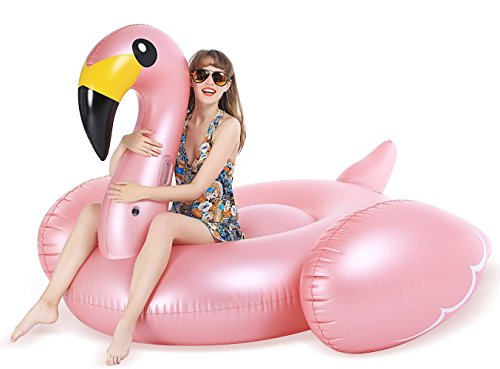 Jasonwell Giant Inflatable Flamingo Pool Float with Fast Valves Summer Beach Swimming Pool Party Lounge Raft Decorations Toys for Adults Kids XXXX-Large (Metal Sled)