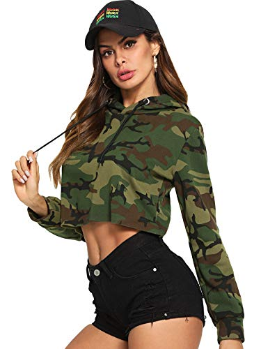 Hoodie Green Camo - MAKEMECHIC Women's Camo Print Long Sleeve Crop Top Sweatshirt Hoodies Army Green M