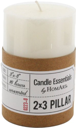 HomArt Pillar Paraffin Wax Candle, 2-Inch by 3-Inch, Ivory