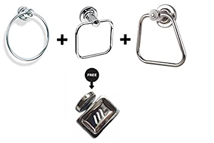 JaggerRod Napkin & Towel Ring Stainless Steel Chrome Finished (Pack Of 3) Free soap Holder
