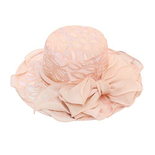 QBQCBB Womens Ladies Church Wide Brim Tea Party Wedding Hat Fancy Derby Fascinator Cap(Pink)