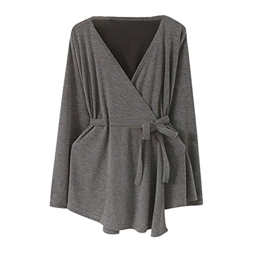 Medium Length Grey Coat Sleeve Big Solid Belt Collar Long V DYF Size XXXXL Color Dark THpxqwKRU